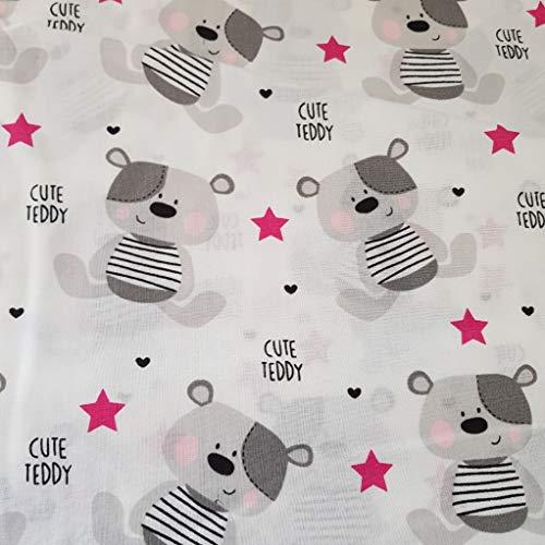 100% Baumwolle Baumwollstoff Kinder Kinderstoff Meterware Handwerken Nähen Stoff Tiermotiv 100x160cm 1 Meter (Cute Teddy Pink)