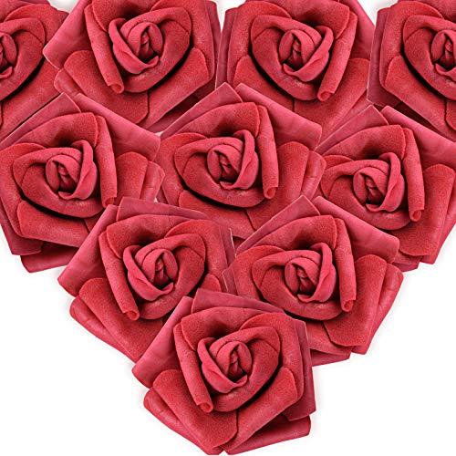 MEJOSER (Dia. 7cm) 50 Pezzi Rose Finte Teste di Fiori Artificiali Sposa Decorazione Matrimonio Nuziale Festa Casa Fai da Te (Vino Rosso)