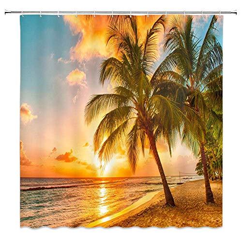 JOOCAR - Tenda da doccia con motivo tramonto spiaggia scena tropicale hawaiana spiaggia palma oceano onde mare acqua tramonto tema tessuto impermeabile arredo bagno set con ganci