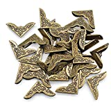 Dylan-EU 40 Pièces Rétro Protecteurs d'Angle de Livre 30 * 30 * 42 mm Protecteurs de Coin de Livre Coin Protecteurs en Métal pour Scrapbooking Bloc-notes Dossiers Photos Albums - Bronze