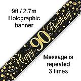 Bannière holographique scintillante pour 90e anniversaire Noir/doré 2,7 m