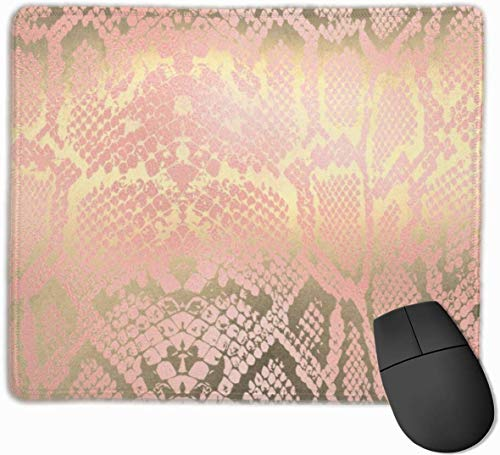 N/A Contemporary Gold Pink White Python Snake Skin Gaming Mouse Mat Pad Mouse Mat Non-Slip Rubber Base Surface for Computer PC Keyboard and Desk