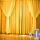 Curtain Fairy Lights, Curtain Lights, 3M*2.8M USB Waterproof Fairy String Lights, 280LED Dimmable Window Lights, 8 Modes Remote Control, for Outdoor Indoor Garden Bedroom Decoration(Warm White)