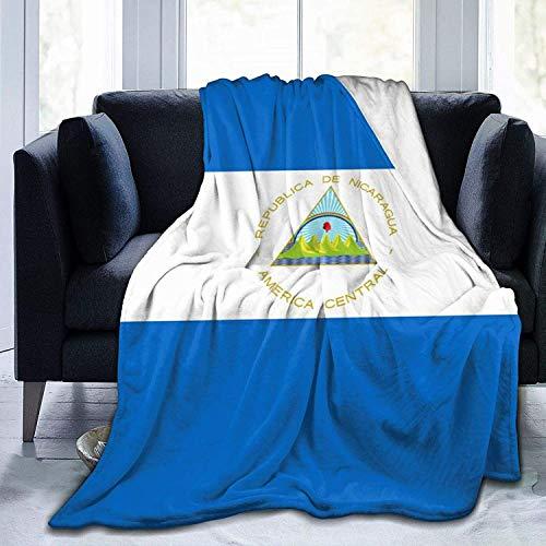 Manta de Tiro Bandera de Nicaragua Manta de Microfibra Ultra Suave Nacional Ultra Suave Manta de Cama súper Suave y acogedora para Cama Sofá Sofá Sala