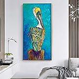 KWzEQ Artístico Moderno pájaro Pintura Arte Cartel Pared Sala Abstracto Animal sobre Lienzo,Pintura sin Marco,50X100cm