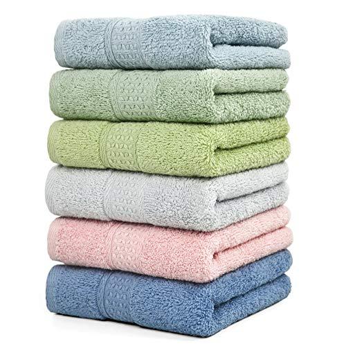 "Cleanbear Hand Towel Face Towel Set,100% Cotton, Assorted Colors Hand Towels, Size 29"" x 13"", 6-Pack 6 Colors"