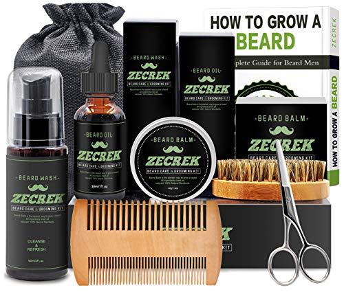 Premium Beard Grooming & Growth Kit w/Beard Oil,Beard Shaping Tool,Beard Wash/Shampoo,Beard Balm,Beard Comb,Beard Brush,Beard Scissor,Storage Bag,Gifts for Men Him Dad