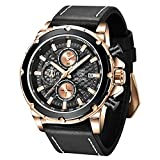 BENYAR - Stylish Wrist Watch for Men, Genuine Leather Strap Watches, Perfect Quartz Movement, Waterproof and Scratch Resistant, Analog Chronograph Business Watches, Best Mens Gift