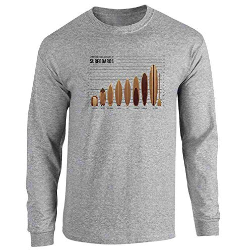 Pop Threads Surfboards Size and Type Chart Surfer Surfing Sport Grey L Full Long Sleeve Tee T-Shirt