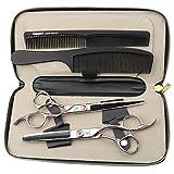 ZWJ-JJ Japan Steel 440C tijeras de peluquería rosa set 6.5 pulgadas tijeras de peluquería y 2 combinaciones de peine