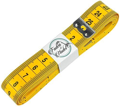 Faden & Nadel Extra langes 300 cm Schneidermaßband, Maßband, Bandmaß in gelb, Länge: 3 Meter / 120 Zoll