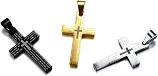 PJ Stainless Steel Bible Verse English Lord's Prayer Engraved Cross Symbol Pendant Necklace