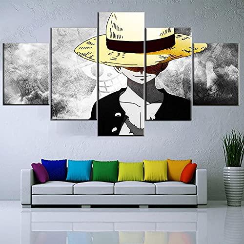 FGART Modular HD Lienzo Imagen 5 Piezas Cuadro sobre Arte Pared 5 Partes Modernos Mural Monkey D Luffy Impresión Salón Decoración Frame Poster