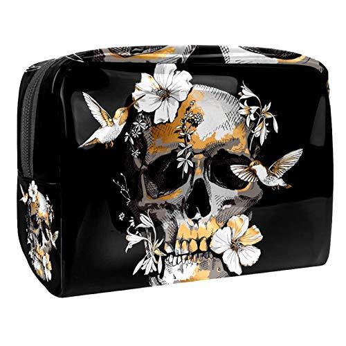 Bolsa de cosméticos para Mujeres Cráneo Hibiscus Flor Colibrí Bolsas de Maquillaje espaciosas Neceser de Viaje Organizador de Accesorios