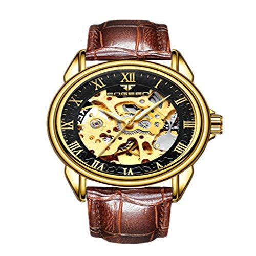 Hombres Esqueleto de Lujo Bobinado automático Relojes mecánicos Reloj de Pulsera Impermeable de Acero Inoxidable Dorado Hombre Horas