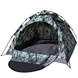 IRIS Instant Pop Up Camoflauge Tents, 4 Person Automatic Hydraulic Family Tents, Waterproof Backpacking Tents for Outdoor Sports Camping Hiking Ultralight with Zippered Door and Carrying Bag ( 210 X...