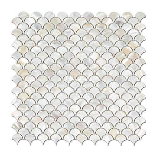 Diflart Oyster Mother of Pearl Light Colorful Fish Scale Shell Mosaic Tile for Kitchen Backsplashes Bathroom Tiles Pack of 10 Sheets