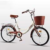 Cómoda Bicicleta De Ciudad con Una Canasta, Bicicleta, Elegance Bicicleta Urbana, City Bike, Bicicleta Paseo, Bicicleta De Paseo Mujer, Bicicleta Urbana Vintage Retro,Beige,20 Inches