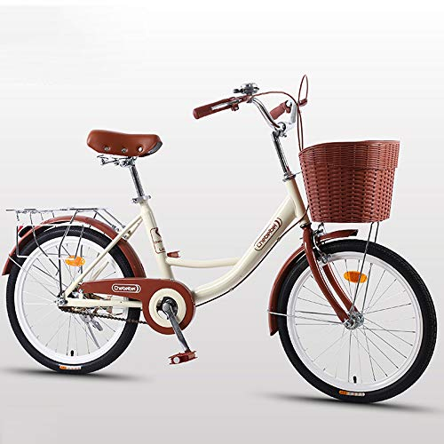 DelongKe Damen Cruiser Bike, Urban Lady Beach Cruiser Fahrrad, Damen New Beach Cruiser Fahrrad mit Heckträger, Hybrid-Fahrrad für Damen und Herren, beige, 61 cm
