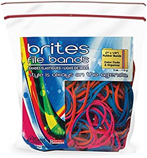 Alliance Rubber 07800 Non-Latex Brites File Bands, Colored Elastic Bands, 50 Pack (7