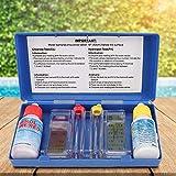 Kit de prueba de pH para piscina, medidor de plástico, kit de prueba digital de calidad del agua con plástico de 15 x 7,3 cm para piscina