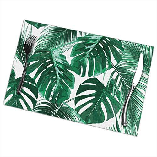 Art creative design Set de 6 Sets de Table en Feuilles de Palmier Tropical Isolant antidérapant Anti-dérapant en Vinyle tissé pour Cuisine Salle à Manger 12 X 18 Pouces
