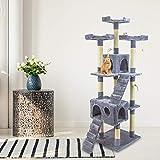 Tiragraffi Gatto albero 170Cm con Cuccia per Gatti Albero Parco giochi gioco tira graffi per Gatto colore Grigio - AQPET