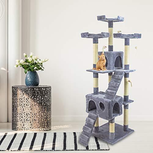 tiragraffi per gatti adulti 170cm Tiragraffi Gatto albero 170Cm con Cuccia per Gatti Albero Parco giochi gioco tira graffi per Gatto colore Grigio - AQPET