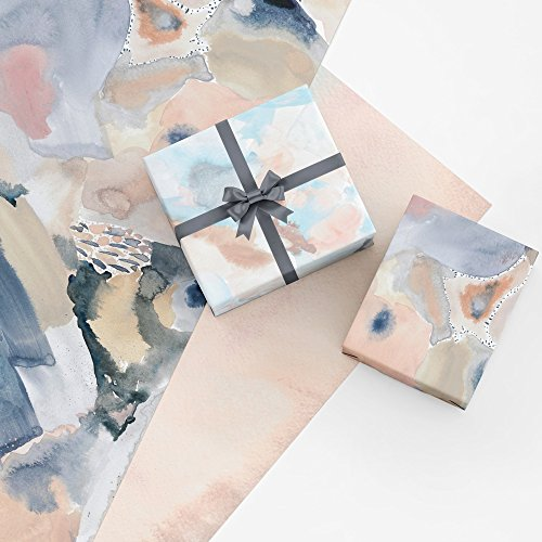 Pink Abstract Gift Wrap Collection, 9 Folded Sheets of Wrapping Paper from Original Watercolor Paintings, Easy to Store Folded Gift Wrap, Made in America by REVEL & Co