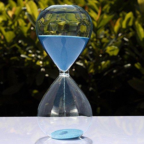 Grand sablier coloré en verre tendance - Décoration d'intérieur ou cadeau de Noël et d'anniversaire, bleu, 15 Minutes