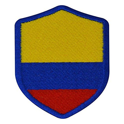 FanShirts4u Aufnäher - KOLUMBIEN - Wappen - 7 x 5,6cm - Bestickt Flagge Patch Badge Fahne Colombia (Blaue Umrandung)