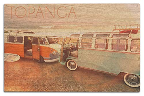Pussycat Collectible Topanga Calinia Camper Van on Beach Fun and Unique Vintage Decorative Painting Hanging bar Club House Wall tin Sign Poster 20 x 30 cm