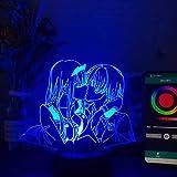 Zhongkaihua Japón Anime Darling in The FRANXX Zero Two 002 Luz nocturna LED Estéreo Multicolor Linterna Regalo Niño Dormir Luminosa Decoración Lámpara 16 Color Touch Remoto Flash
