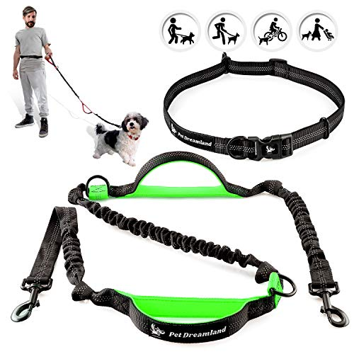 Pet Dreamland Hands Free Leash - For One/Two Medium to Large Dogs (up to 150lbs) - Running/Hiking/Dog Training - Heavy Duty Extra Long Bungee Lead - Waist Leashes for Dogs (One Small Dog, Black & Green)
