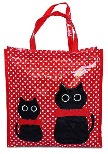 Or&My Shopper Borsa Donna in Plastica Busta Spesa Casual Universale Fantasia Gattini (Rosso, Piccola)