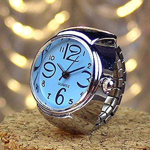 Fashion horloges Dfch 2PCS L04 Dial Quartz analoog horloge Creative Steel Cool Elastic Quartz Finger Ring horloge for mannen/vrouwen (zwart) (Color : Blue)