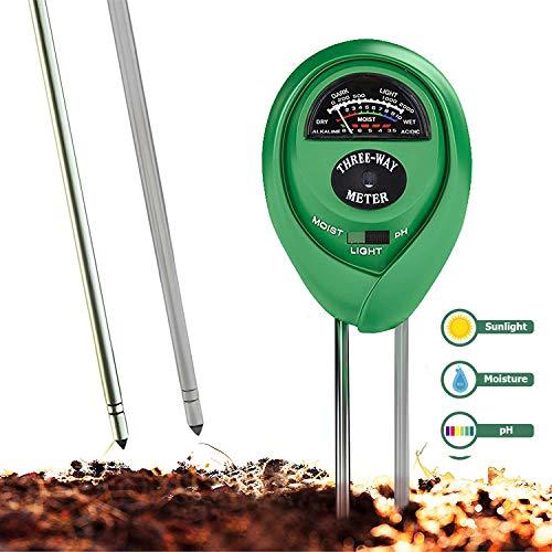 Testeur de sol, testeur d'humidité des plantes et testeur de pH 3 en 1 pour la maison et le jardin, pelouse, ferme, plantes, herbes et outils de jardinage, testeur de sol pour l'entretien des plantes