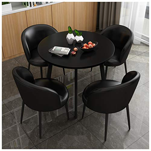 Gaohh - Mesa de comedor y silla combinada para cafetería, ocio, panadería, pasillo, dormitorio, estudio, 1 mesa y 4 sillas de piel, 80 cm, mesa redonda y juego de sillas