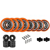 Labeda Gripper Asphalt Outdoor Inline Roller Hockey Wheels + Hybrid Ceramic Bearings 76/80 Hilo 85A Orange