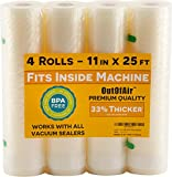 11' x 25' Rolls (Fits Inside Machine) - 4 Pack (100 feet total) OutOfAir Vacuum Sealer Rolls. Works with FoodSaver Vacuum Sealers. 33% Thicker, BPA Free, Sous Vide, Commercial Grade