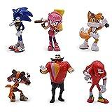 Figura sónica 6 unids / Lote Super Sonic The Hedgehog Figuras de Anime PVC Sonic Shadow Tails Llaver...