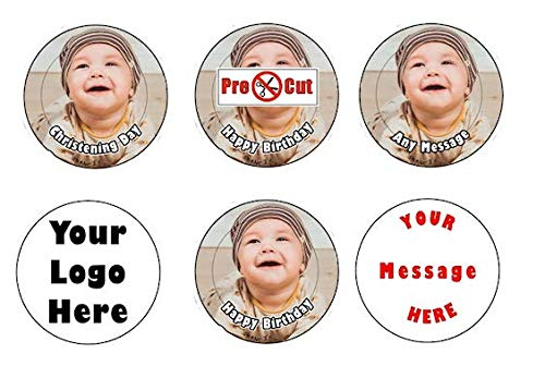 Goggly 35 x Pre Cut personalisiertes Foto / Ihr Logo Cupcake Toppers essbare Wafer Papier