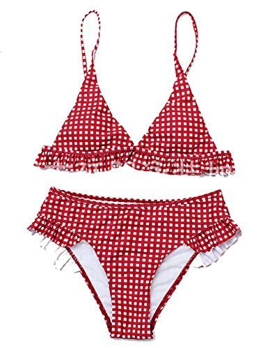 Conjunto de Bikini de Impresión a Cuadros con Volantes para Mujer Traje de Baño de Playa Acolchado Traje de Baño de Bikini de 2 Piezas