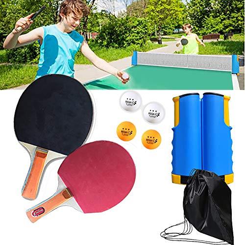 Tischtennisschlaeger Set, Tischtennis Set, Bälle Ping Pong Set ideal für Kinder Erwachsene Indoor Outdoor, für Anfänger und Profis, 2 Tischtennis Schläger, 4 Tischtennis Bälle