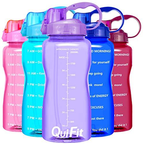 QuiFit Botella de agua sin BPA Tritan de 2 l, con pajita, «Trinkermutigung» impreso, con asa, tamaño XL, para fitness, gimnasio, deporte, de plástico, respetuosa con el medio ambiente