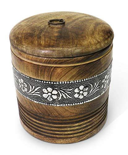 Purity - Cajas de madera estilo oriental con decoración de metal, marrón, Jar 15x15