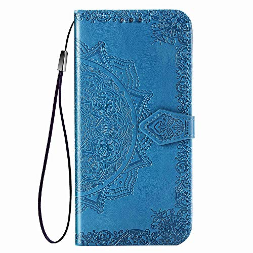HAOYE Hülle für LG K40S Hülle, Mandala Geprägtem PU Leder Magnetische Filp Handyhülle mit Kartensteckplätzen/Standfunktion, [Anti-Rutsch Abriebfest] Schutzhülle. Blau