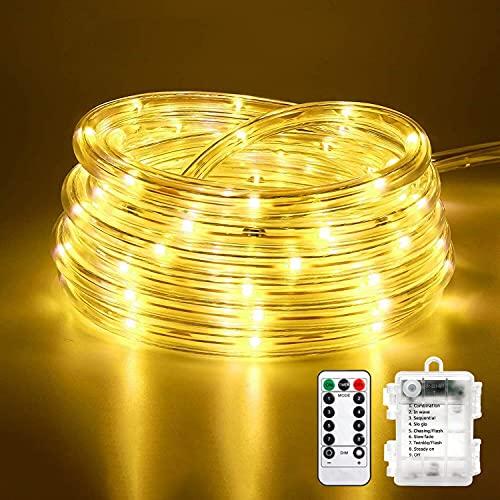 10M 100 LEDS Lichterschlauch, Eruibos LED Schlauch Außen mit Fernbedienung & Timer, IP65 Wasserdicht, 8 Modi und Helligkeit dimmbar Lichterkette...