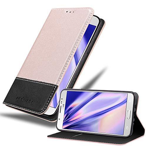 Cadorabo Funda Libro para Samsung Galaxy J7 2016 en Rosa Oro Negro - Cubierta Proteccíon con Cierre Magnético, Tarjetero y Función de Suporte - Etui Case Cover Carcasa