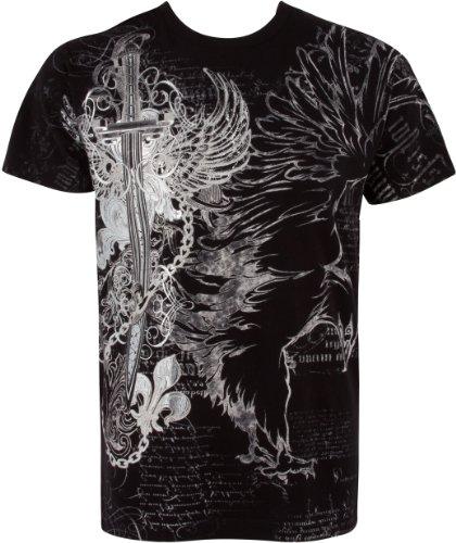 Sakkas TG427T Aigle, Epée et Chaines en Relief Argent métallique Manches Courtes Col Rond Coton T-Shirt Fashion Homme - Noir/Moyen
